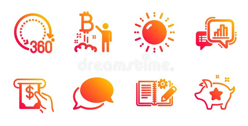 Αγγελιοφόρος, 360 βαθμοί και εικονίδια προγράμματος Bitcoin καθορισμένοι r απεικόνιση αποθεμάτων