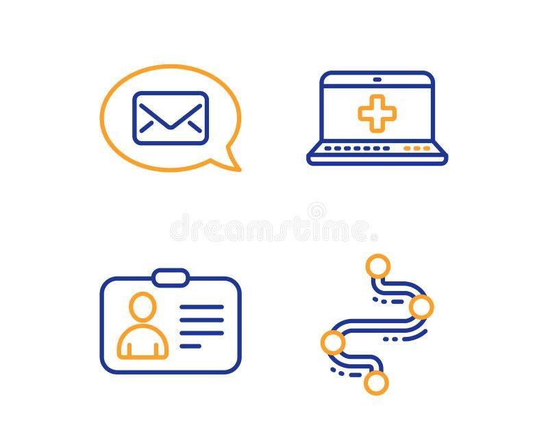 Αγγελιοφόρος, κάρτα ταυτότητας και ιατρικά εικονίδια βοήθειας καθορισμένοι Σημάδι υπόδειξης ως προς το χρόνο Νέο μήνυμα, ανθρώπιν απεικόνιση αποθεμάτων