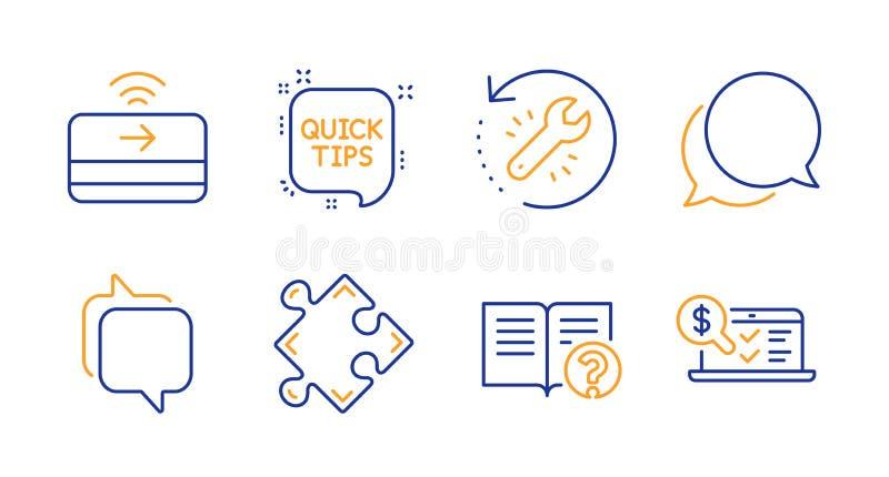 Αγγελιοφόρος, μήνυμα συνομιλίας και εικονίδια βοήθειας καθορισμένοι Στρατηγική, εργαλείο αποκατάστασης και γρήγορα σημάδια ακρών  διανυσματική απεικόνιση