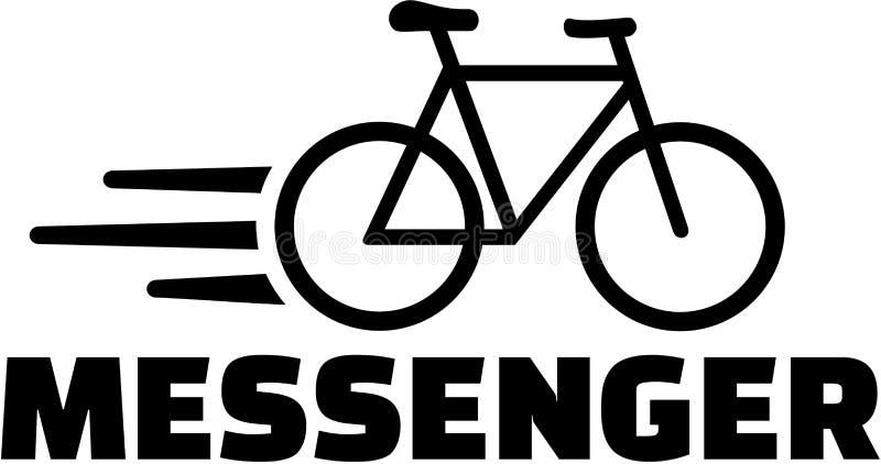 Αγγελιοφόρος με το εικονίδιο ποδηλάτων διανυσματική απεικόνιση