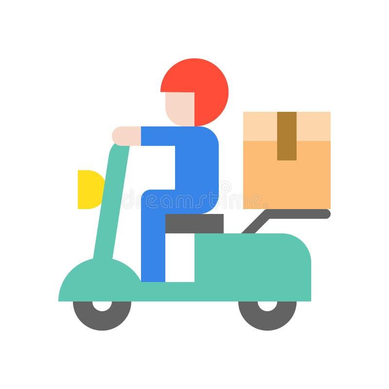 Αγγελιοφόρος που στέλνει το κιβώτιο δεμάτων με τη μοτοσικλέτα, επίπεδο εικονίδιο που στέλνει το de απεικόνιση αποθεμάτων