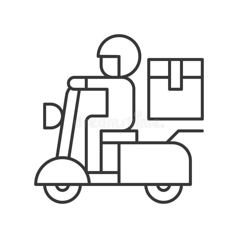 Αγγελιοφόρος που στέλνει το κιβώτιο δεμάτων με τη μοτοσικλέτα, εικονίδιο γραμμών που στέλνει το de διανυσματική απεικόνιση
