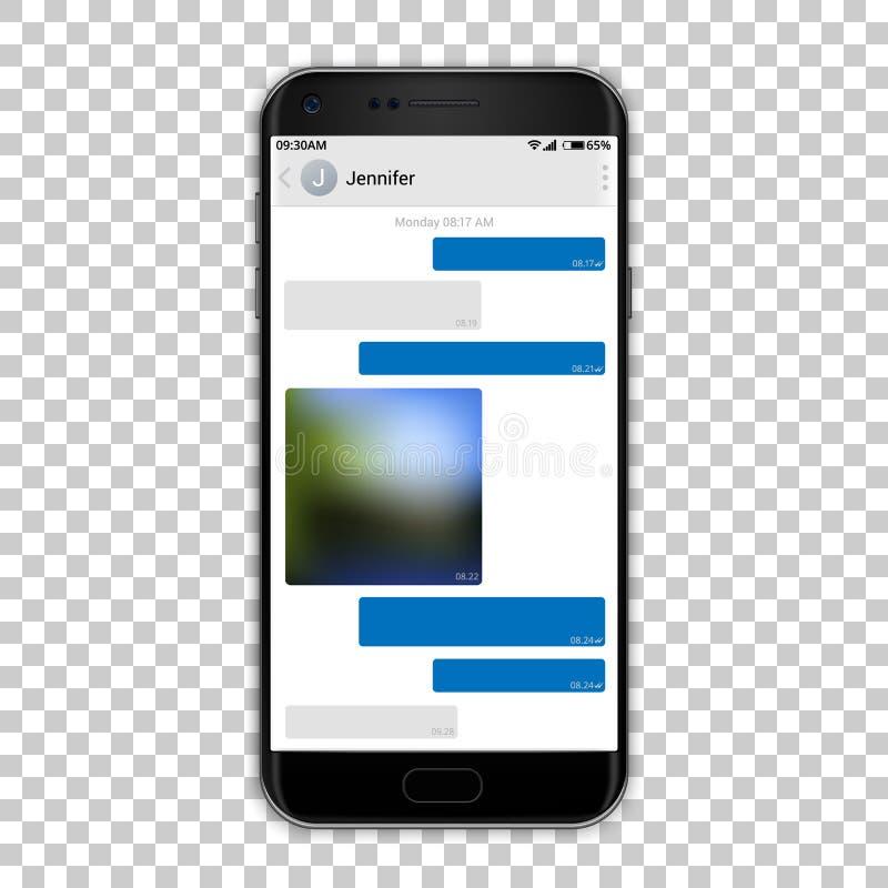 Αγγελιοφόρος συνομιλίας στην τηλεφωνική οθόνη, διανυσματική απεικόνιση Υψηλό λεπτομερές πρότυπο ποιοτικού μαύρο smartphone με την ελεύθερη απεικόνιση δικαιώματος