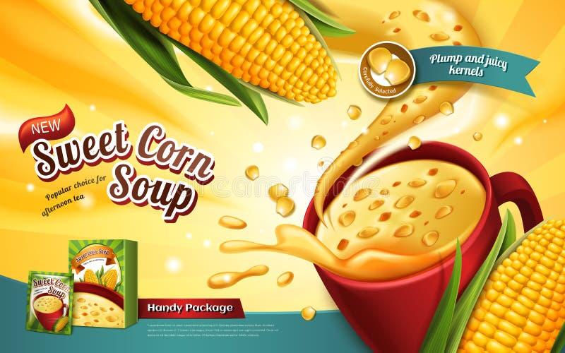 Αγγελία σούπας γλυκού καλαμποκιού ελεύθερη απεικόνιση δικαιώματος