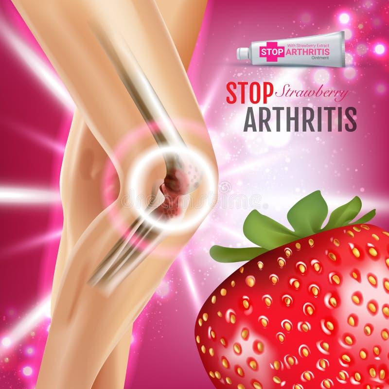Αγγελίες αλοιφών ανακούφισης πόνου αρθρίτιδας Διανυσματική τρισδιάστατη απεικόνιση με την κρέμα σωλήνων με το εκχύλισμα φραουλών ελεύθερη απεικόνιση δικαιώματος