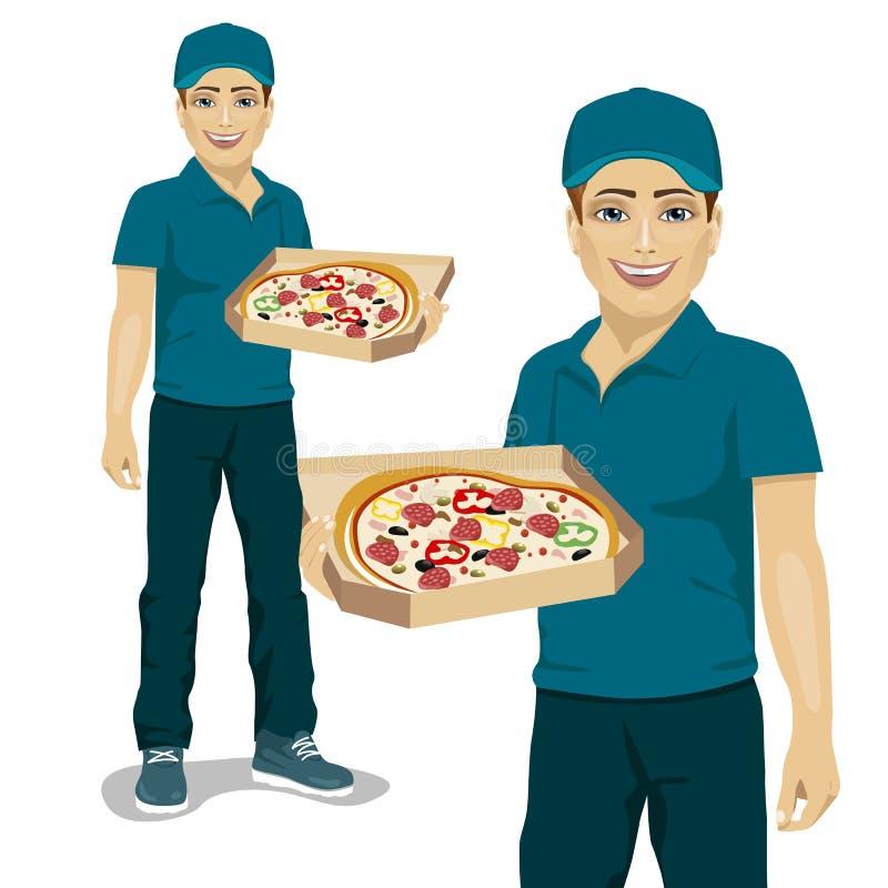 Αγγελιαφόρος παράδοσης πιτσών στην μπλε ομοιόμορφη προσφέροντας πίτσα στο κιβώτιο διανυσματική απεικόνιση
