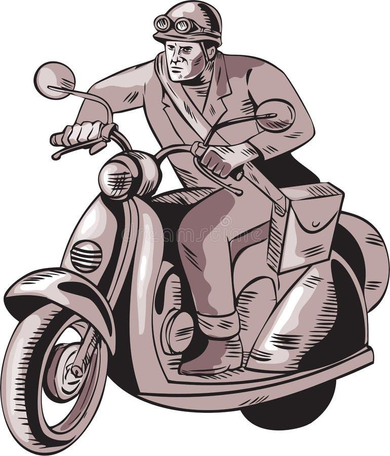 Αγγελιοφόρος που οδηγά το εκλεκτής ποιότητας μηχανικό δίκυκλο χαρακτική διανυσματική απεικόνιση