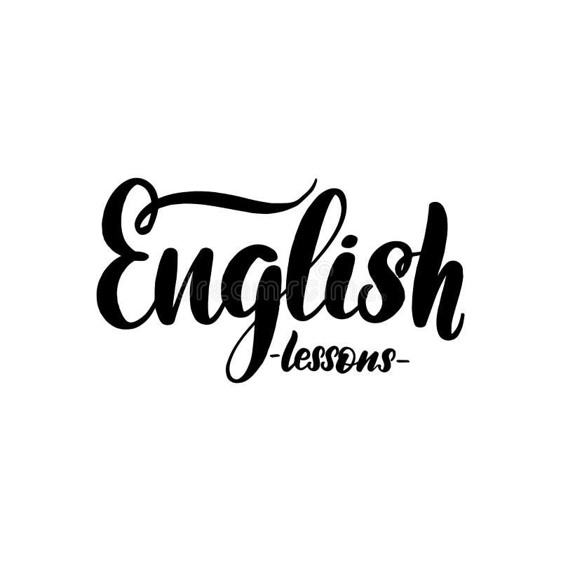 Αγγλικά μαθήματα που γράφουν την κάρτα Τυπογραφικός απεικόνιση αποθεμάτων