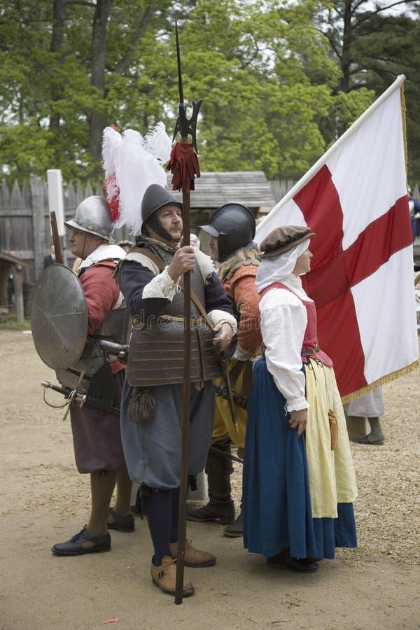 Αγγλικά reenactors αποίκων στοκ φωτογραφίες