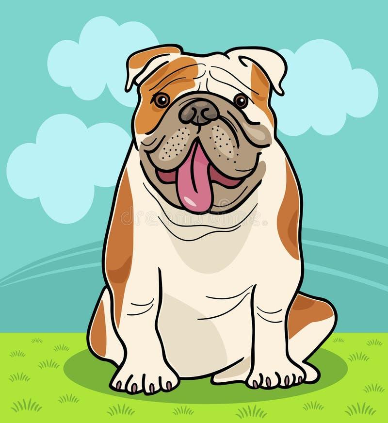 Αγγλική απεικόνιση κινούμενων σχεδίων σκυλιών μπουλντόγκ απεικόνιση αποθεμάτων