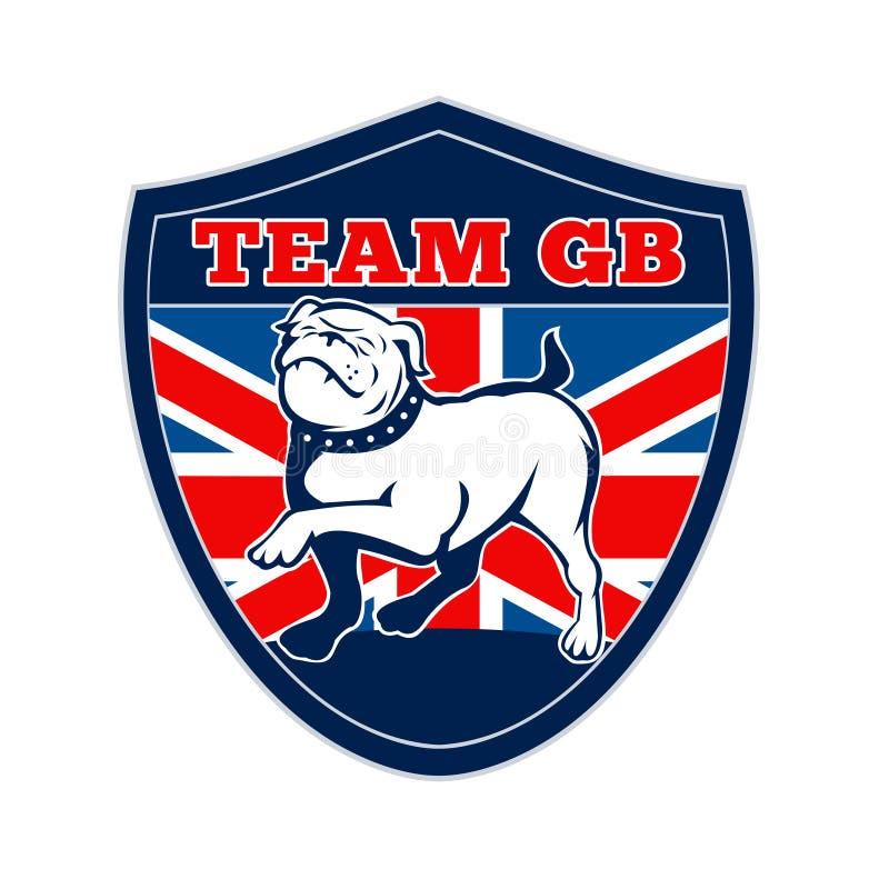 Αγγλική μασκότ της Μεγάλης Βρετανίας μπουλντόγκ ομάδας ΜΒ απεικόνιση αποθεμάτων