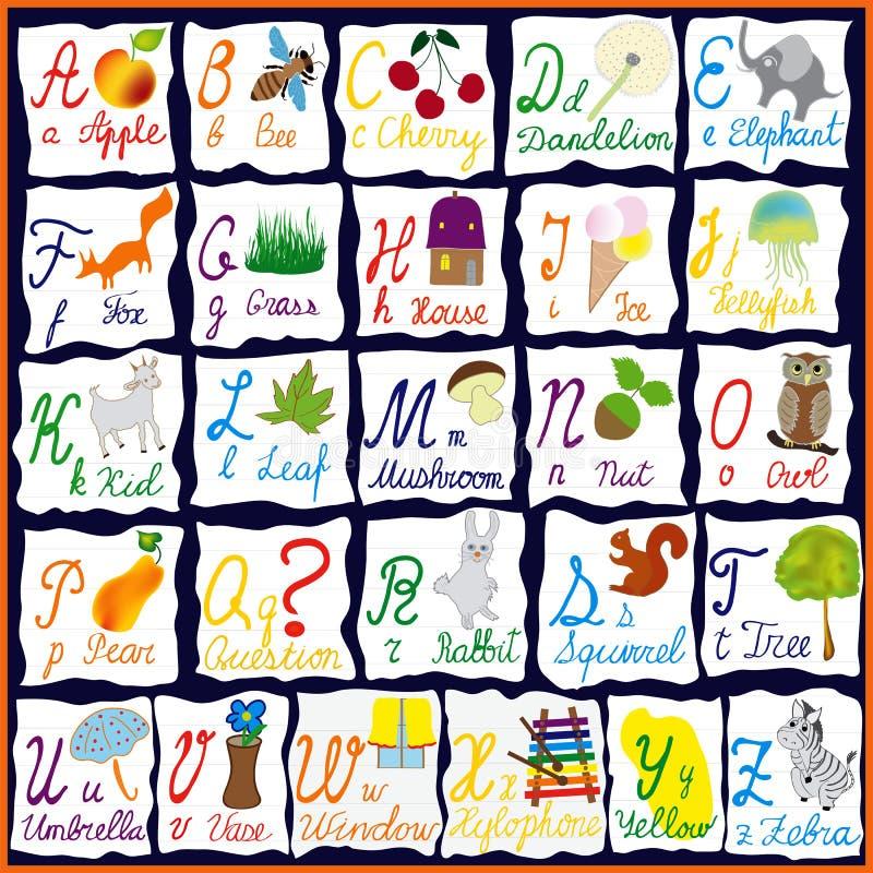 Αγγλικό αλφάβητο ουράνιων τόξων με τις επιστολές, τις λέξεις και τις εικόνες διανυσματική απεικόνιση