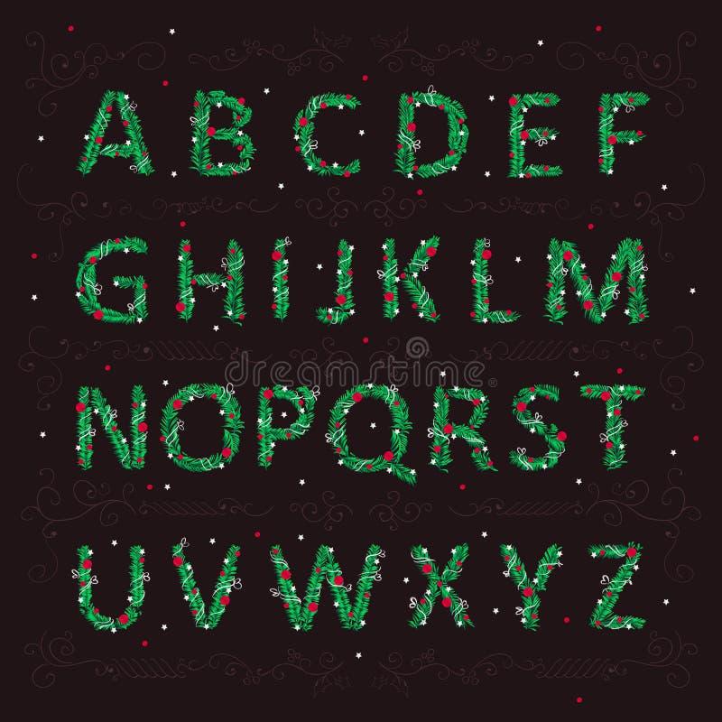 Αγγλικό αλφάβητο Χριστουγέννων υπό μορφή βελόνων ενός χριστουγεννιάτικου δέντρου με τα παιχνίδια ελεύθερη απεικόνιση δικαιώματος