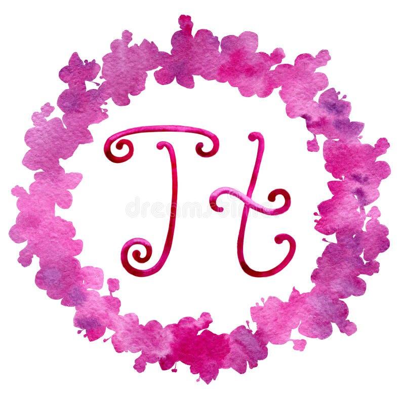 Αγγλικό γράμμα Τ αλφάβητου, που απομονώνεται σε ένα άσπρο υπόβαθρο, σε ένα κομψό πλαίσιο, χειρόγραφο E r διανυσματική απεικόνιση