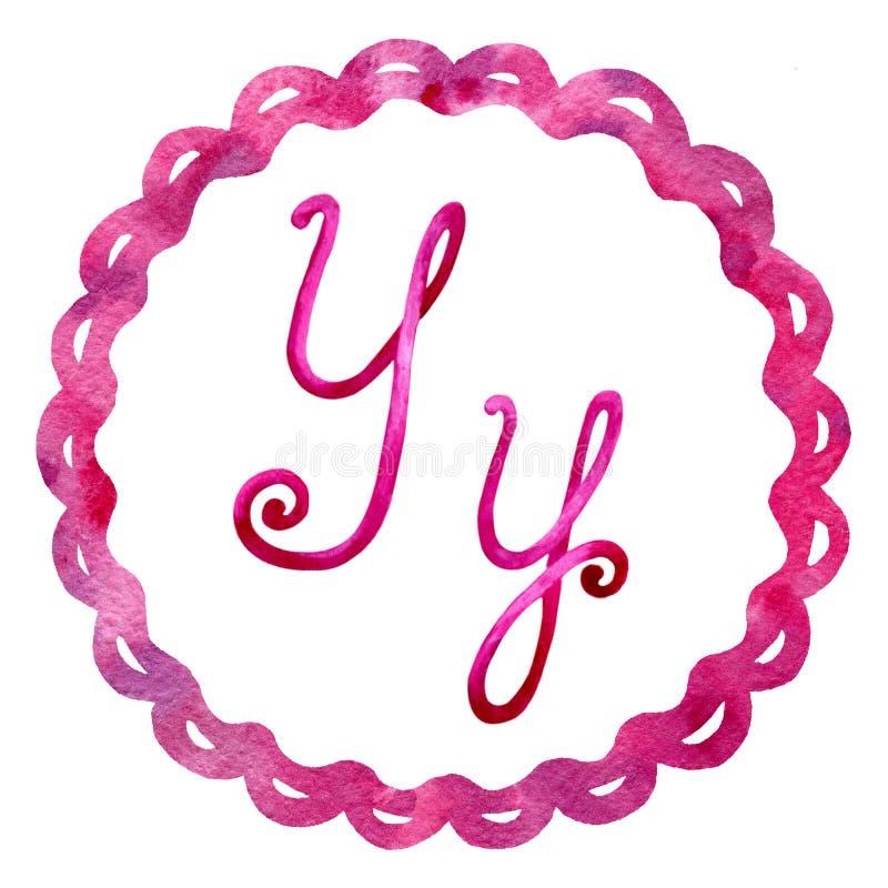Αγγλικό γράμμα Υ αλφάβητου, που απομονώνεται σε ένα άσπρο υπόβαθρο, σε ένα κομψό πλαίσιο, χειρόγραφο E Για το σχέδιο ελεύθερη απεικόνιση δικαιώματος