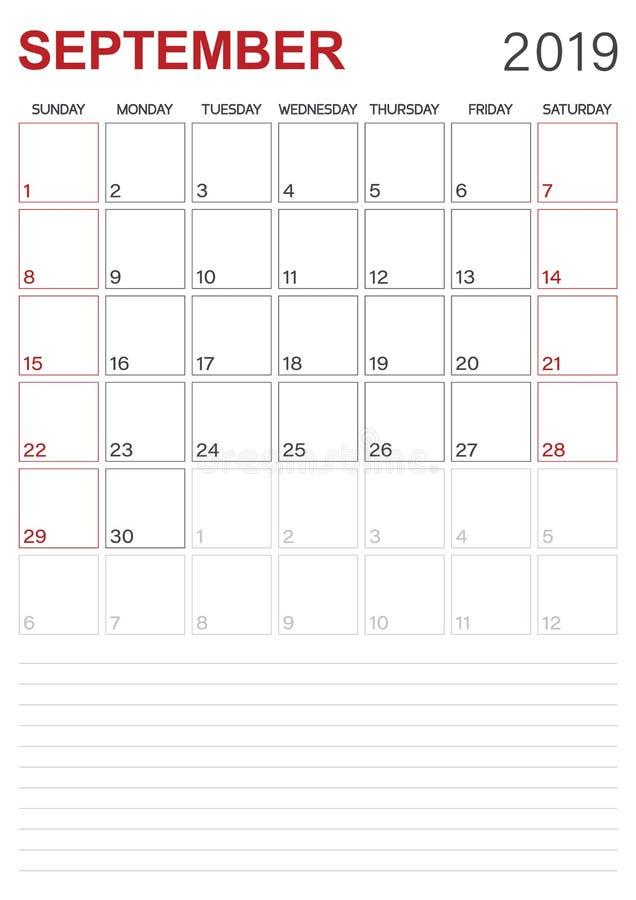 Αγγλικό ημερολόγιο - το Σεπτέμβριο του 2019 απεικόνιση αποθεμάτων
