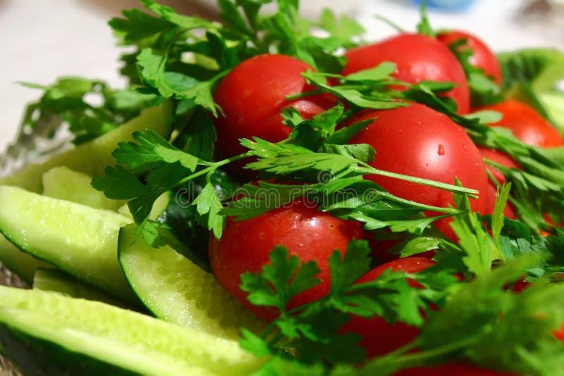 Αγγούρια, ντομάτες και πράσινα Fresch στοκ εικόνα