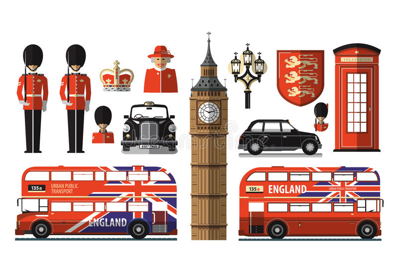 Αγγλία, Λονδίνο, UK εικονίδια που τίθενται ελεύθερη απεικόνιση δικαιώματος