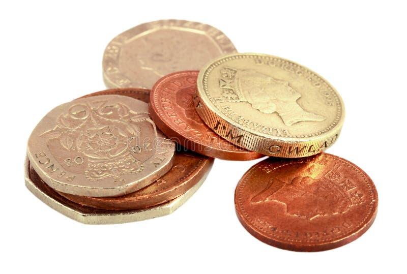 Αγγλικά χρήματα στο λευκό στοκ εικόνα