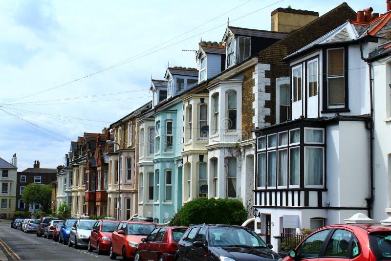 Αγγλικά terraced σπίτια οδών στοκ εικόνες με δικαίωμα ελεύθερης χρήσης