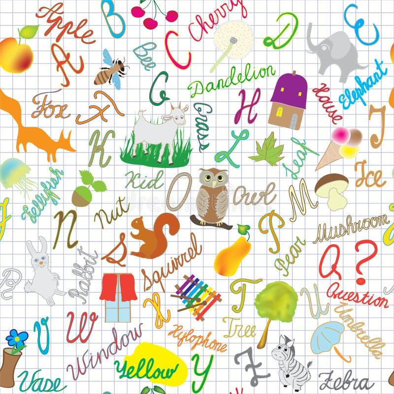 Αγγλική άνευ ραφής σύνθεση αλφάβητου στο ριγωτό υπόβαθρο διανυσματική απεικόνιση