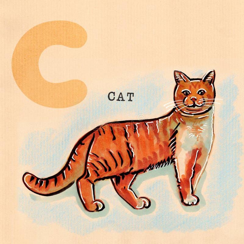 Αγγλικό αλφάβητο, γάτα ελεύθερη απεικόνιση δικαιώματος