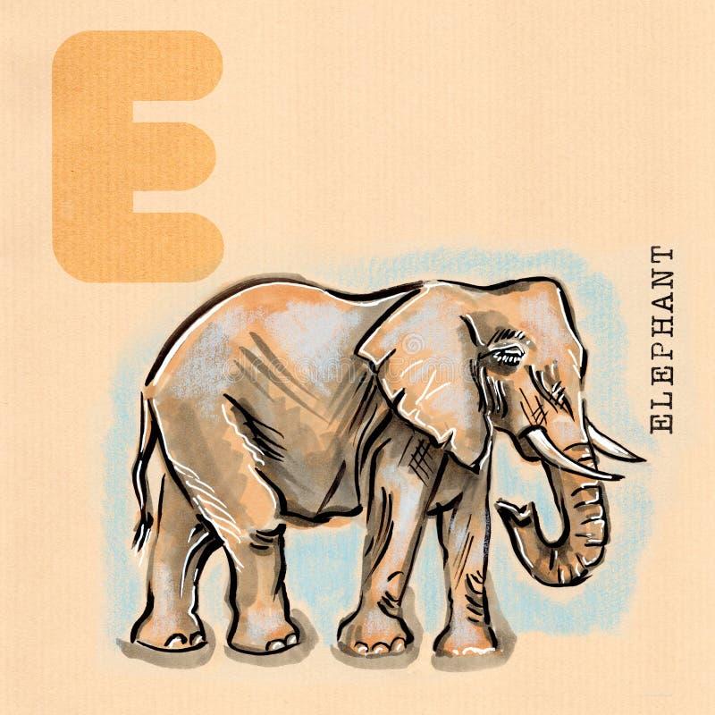 Αγγλικό αλφάβητο, ελέφαντας διανυσματική απεικόνιση