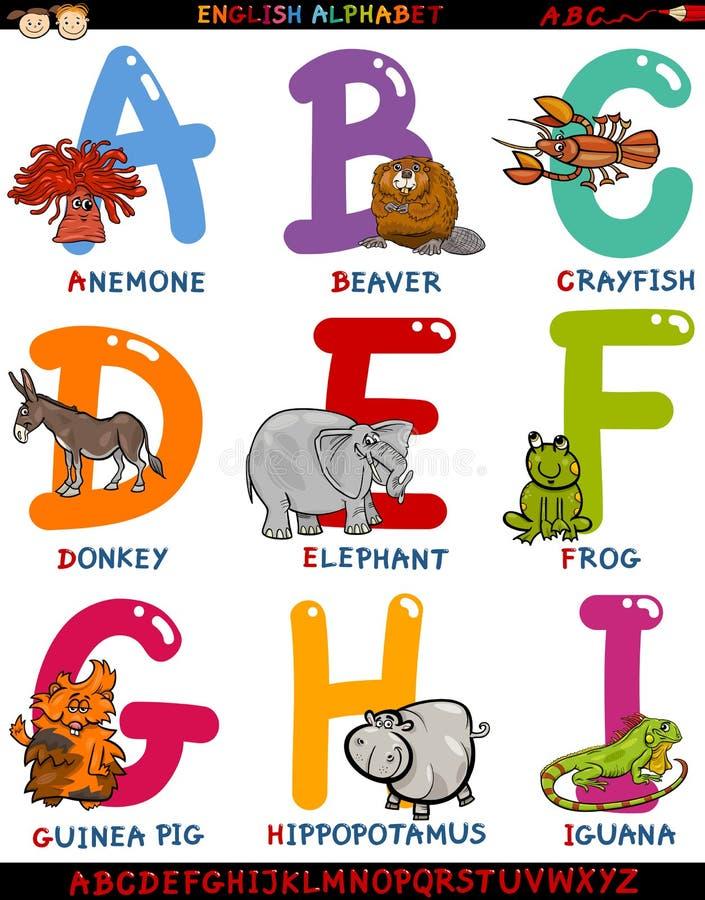 Αγγλικό αλφάβητο κινούμενων σχεδίων με τα ζώα ελεύθερη απεικόνιση δικαιώματος