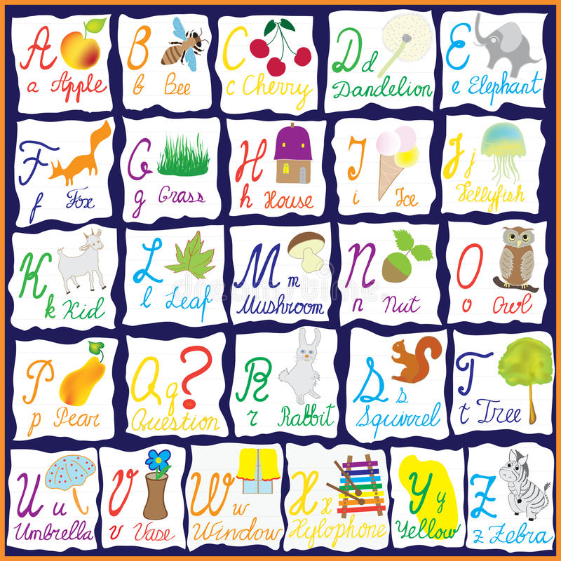 Αγγλικό αλφάβητο ουράνιων τόξων με τις εικόνες διανυσματική απεικόνιση