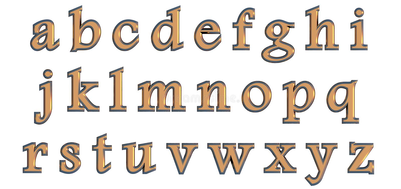 Αγγλικό αλφάβητο στις χρυσές πεζές επιστολές, τρισδιάστατη παραλλαγή πηγών συνήθειας ελεύθερη απεικόνιση δικαιώματος