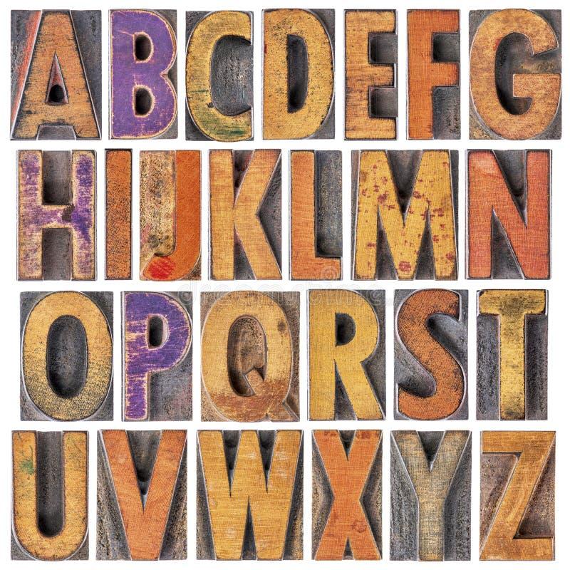 Αγγλικό αλφάβητο στον εκλεκτής ποιότητας letterpress ξύλινο τύπο στοκ φωτογραφία με δικαίωμα ελεύθερης χρήσης
