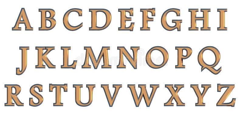 Αγγλικό αλφάβητο στο χρυσό ανώτερο - επιστολές περίπτωσης, τρισδιάστατη παραλλαγή πηγών συνήθειας διανυσματική απεικόνιση