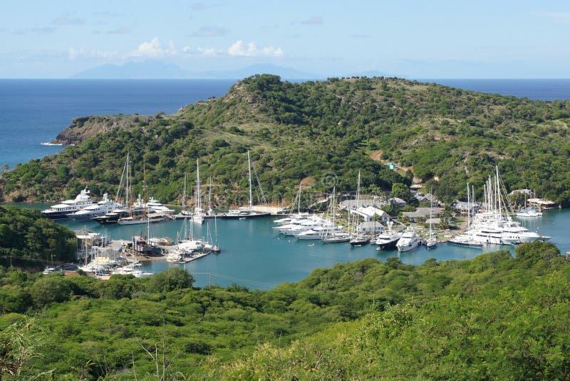 Αγγλικό λιμάνι και ναυπηγείο Nelsons, Αντίγκουα και Μπαρμπούντα, Carib στοκ φωτογραφία με δικαίωμα ελεύθερης χρήσης