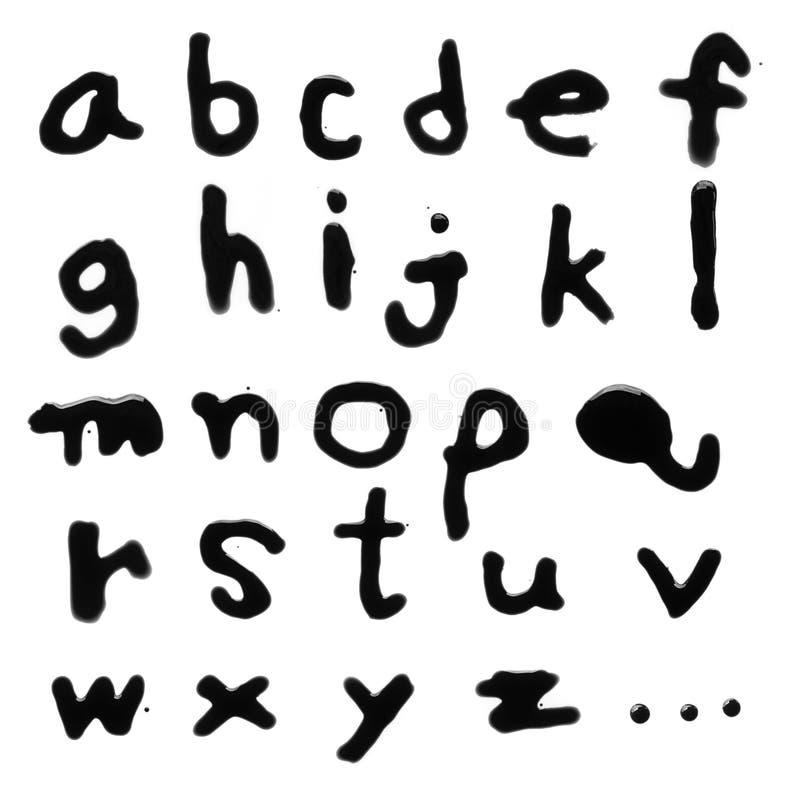 Αγγλικό πεζό στάλαγμα γραμμάτων AZ με το μαύρο αίμα στοκ φωτογραφία