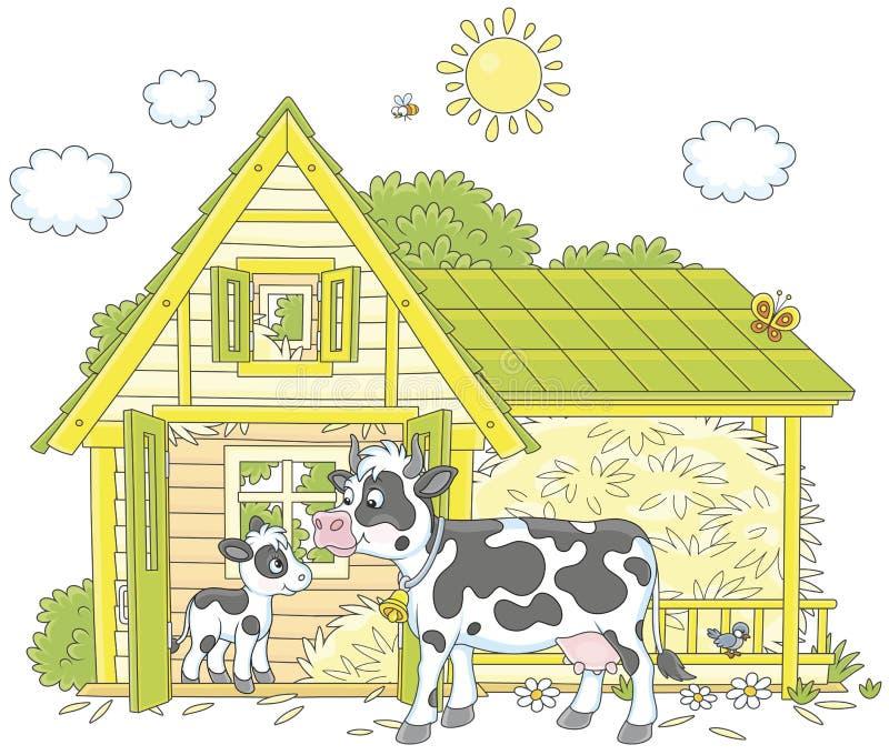 Αγελάδα και μόσχος διανυσματική απεικόνιση