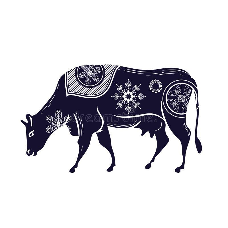Αγελάδα με ένα σχέδιο λουλουδιών E Κερασφόρα βοοειδή ελεύθερη απεικόνιση δικαιώματος