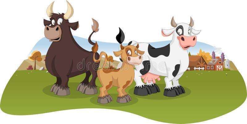 Αγελάδα, μόσχος και ταύρος κινούμενων σχεδίων απεικόνιση αποθεμάτων