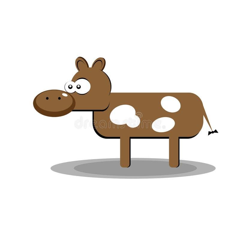 Αγελάδα που απομονώνεται στο πράσινο υπόβαθρο Διανυσματική απεικόνιση στο επίπεδο ύφος σχεδίου κινούμενων σχεδίων στοκ φωτογραφία με δικαίωμα ελεύθερης χρήσης
