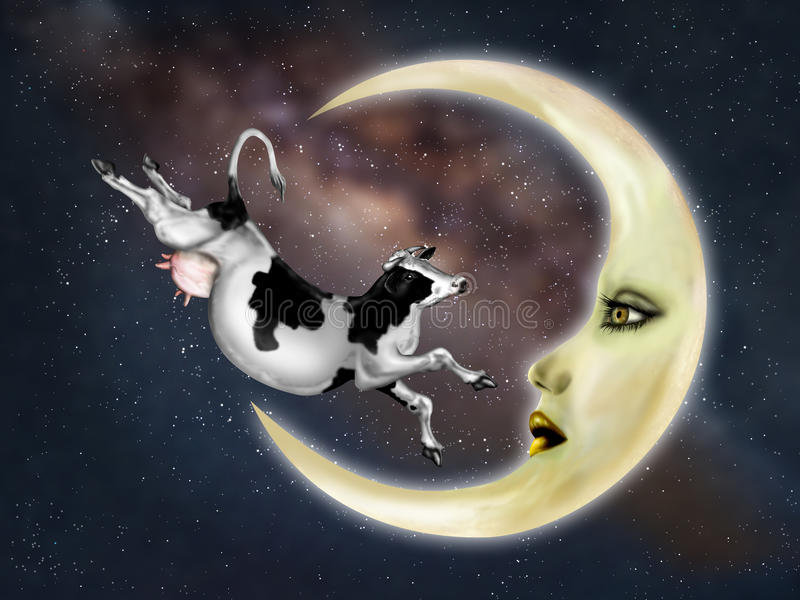 Αγελάδα που πηδιέται πέρα από το φεγγάρι διανυσματική απεικόνιση