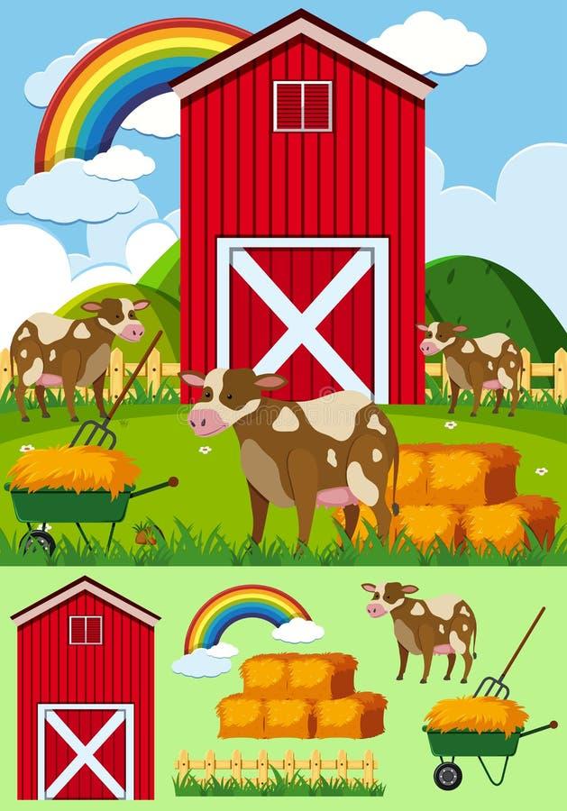 Αγελάδες και κόκκινη σιταποθήκη στην αυλή διανυσματική απεικόνιση