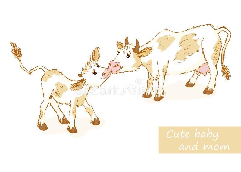 Αγελάδα και μόσχος ελεύθερη απεικόνιση δικαιώματος