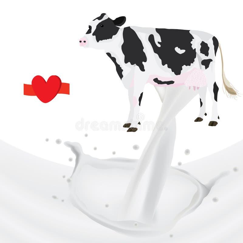 Αγελάδα παφλασμών γάλακτος ελεύθερη απεικόνιση δικαιώματος