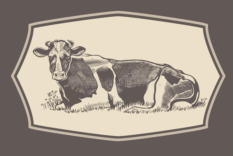 Αγελάδα στο γραφικό ύφος στο πλαίσιο ελεύθερη απεικόνιση δικαιώματος