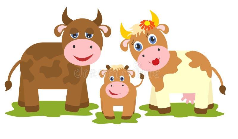 Αγελάδα, ταύρος και μικρός μόσχος ελεύθερη απεικόνιση δικαιώματος