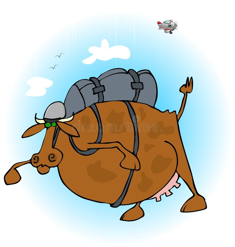 Αγελάδα skydiver διανυσματική απεικόνιση