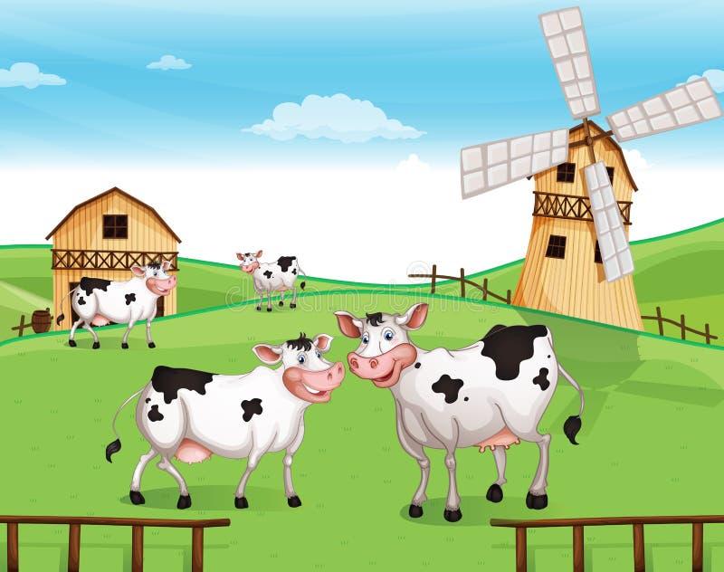 Αγελάδες στην κορυφή υψώματος με έναν ανεμόμυλο διανυσματική απεικόνιση