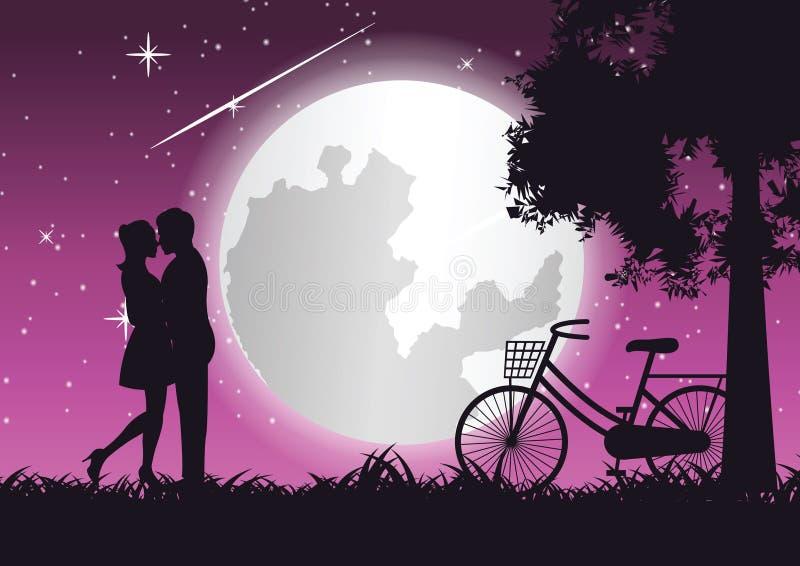 Αγκάλιασμα ζεύγους μαζί και φιλί κοντά στο ποδήλατο και το μεγάλο δέντρο, τέχνη έννοιας διανυσματική απεικόνιση