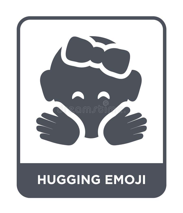αγκάλιασμα του εικονιδίου emoji στο καθιερώνον τη μόδα ύφος σχεδίου αγκαλιάζοντας το εικονίδιο emoji που απομονώνεται στο άσπρο υ απεικόνιση αποθεμάτων