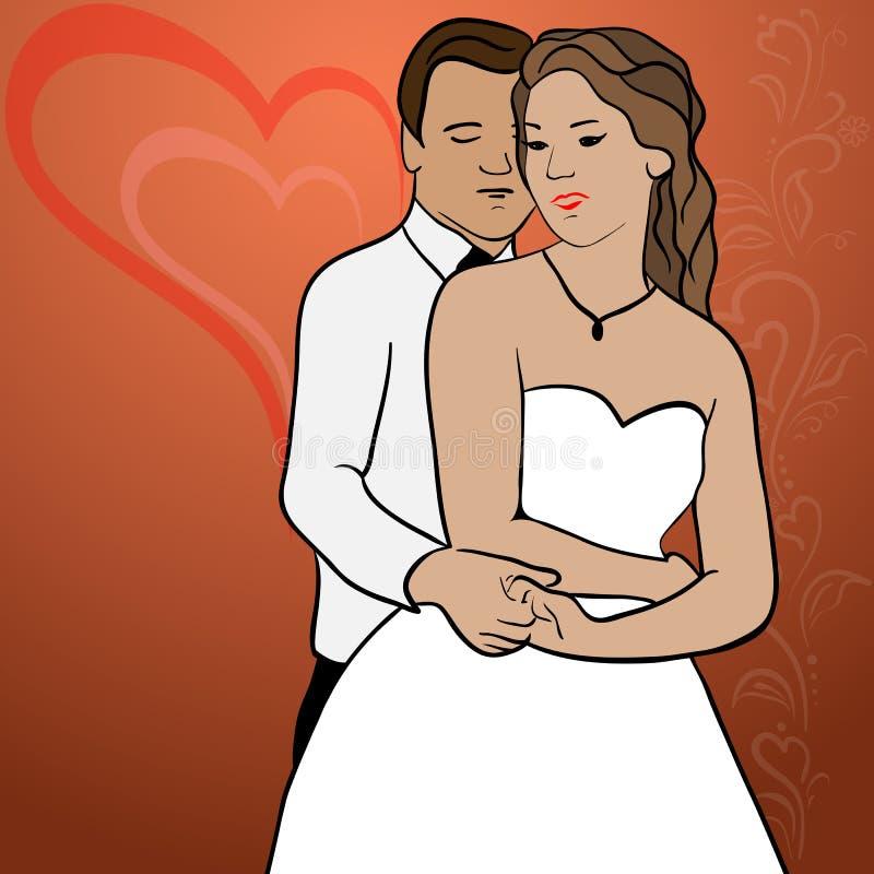Αγκαλιάστε τα newlyweds ελεύθερη απεικόνιση δικαιώματος