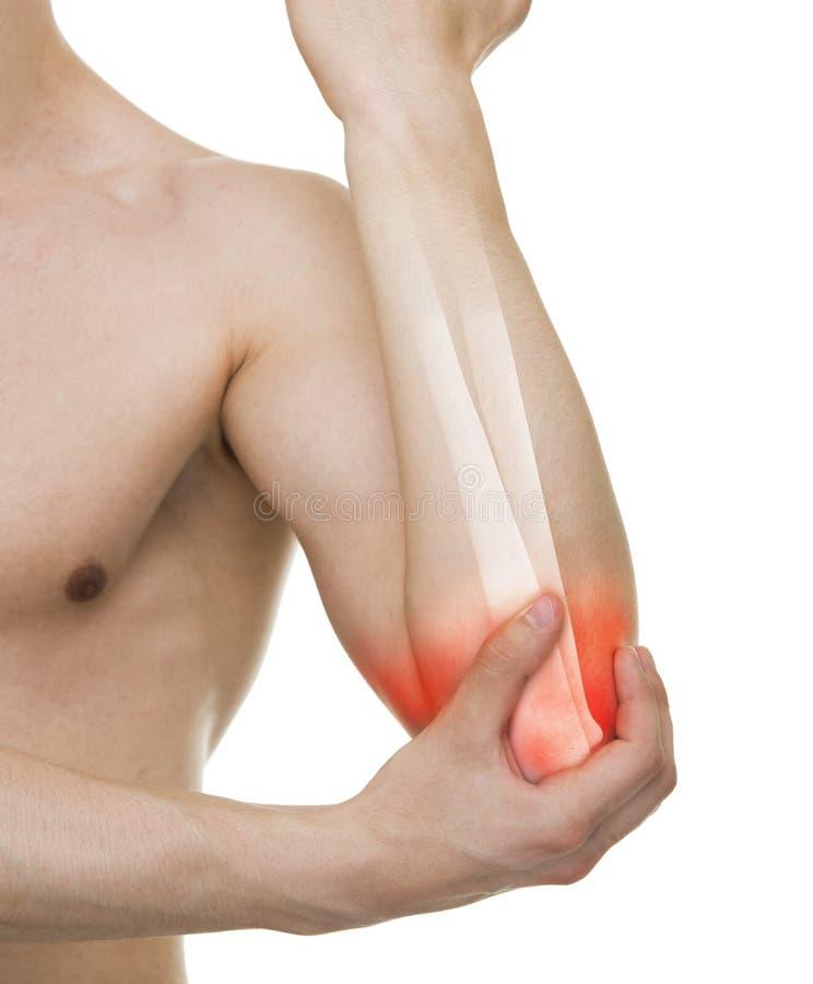 Αγκώνας ατόμων που τραυματίζεται - πυροβολισμός στούντιο με το τρισδιάστατο απομονωμένο απεικόνιση ο απεικόνιση αποθεμάτων